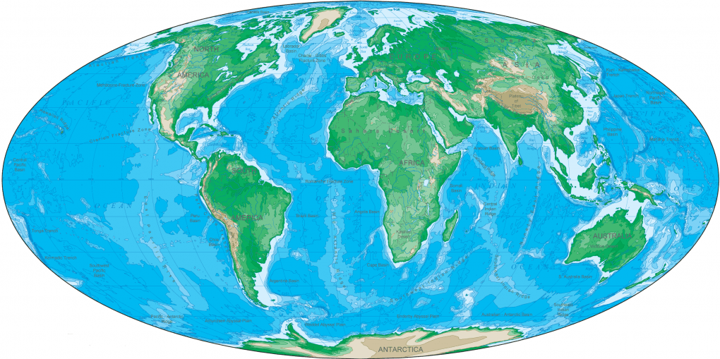 Cropped Oval Shaped World Map