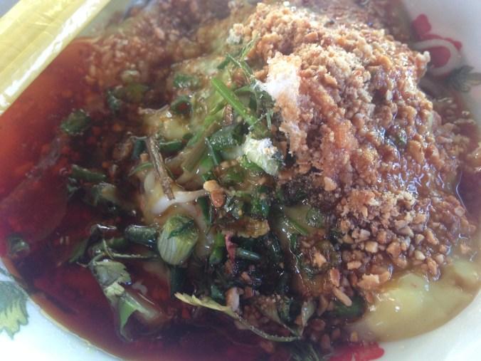 Shan noodles with tofu custard