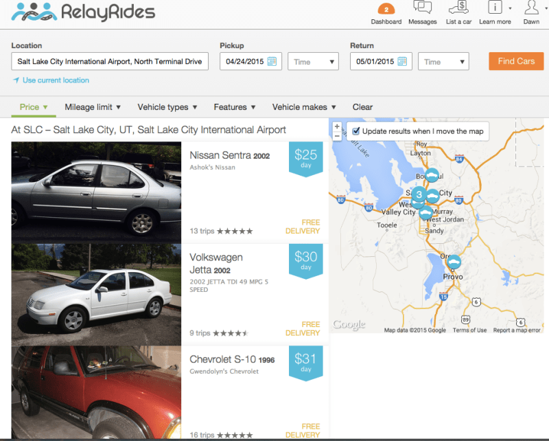RelayRides car search for SLC