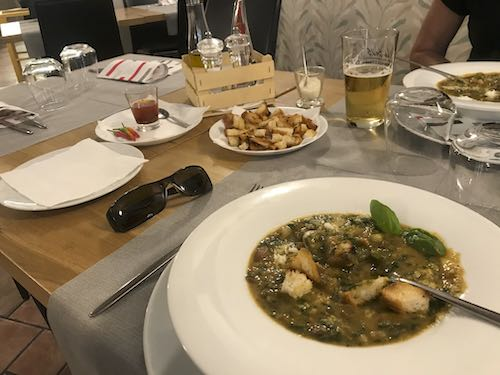 Hearty vegetable soup at the end of the Alassio to Albenga walk