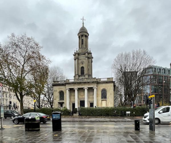 Waterloo Church marks the start of the Walking Dickensian London Marylebone tour