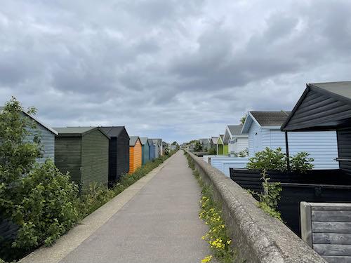 Beach huts on Faversham to Whitstable walk