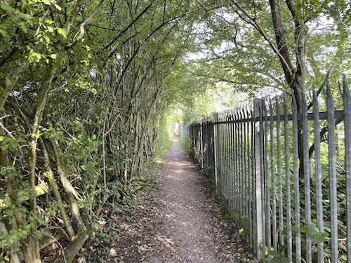 Walking beside the rail line on the Pinner to Stanmore country walk