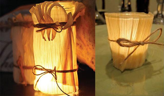 Hiasan lampu dari kulit jagung
