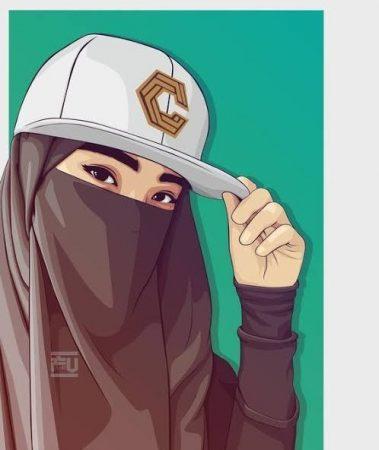 Gambar Kartun Muslimah Bercadar Memakai Topi