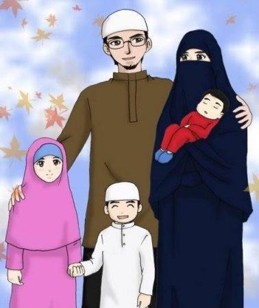 Gambar Kartun Muslimah Satu Keluarga
