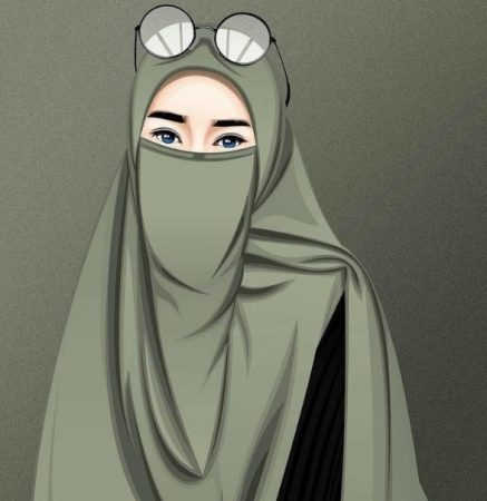 Gambar Kartun Muslimah Syar'i Berkacamata