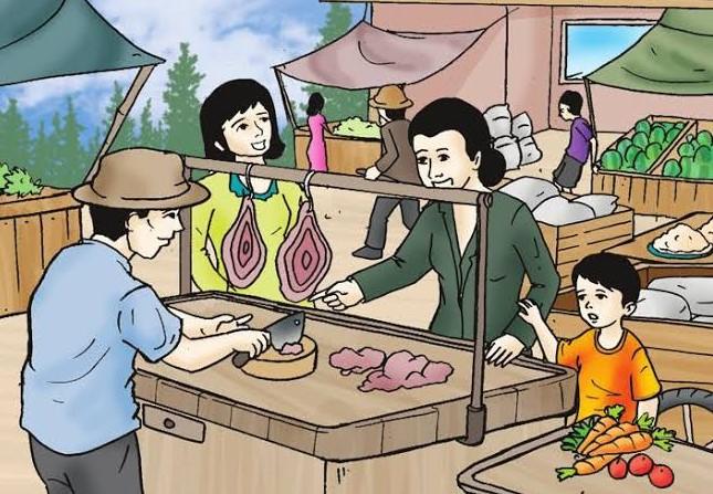 Gambar Kartun Pedagang di Pasar