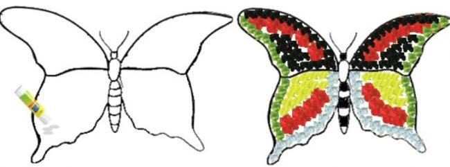 Sketsa Kupu-kupu untuk Kolase