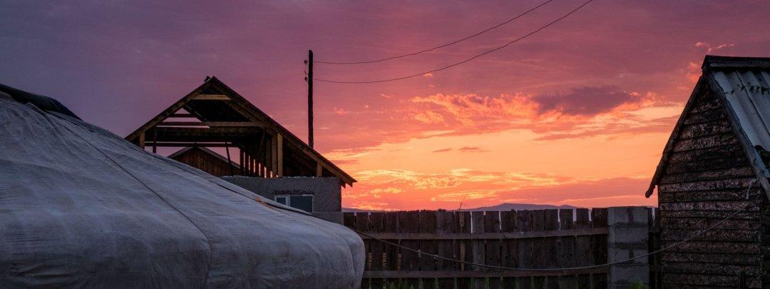 Sunset over a ger in Sukbaatar, Mongolia