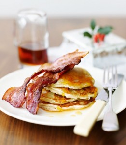Pancakes with Crispy Bacon & Maple Syrup