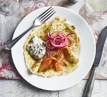 Gravadlax with Dill Crepes, Chilli & Chive Cream & Pickled Onion