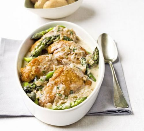 Flambeed Chicken with Asparagus Recipe - courtesy Mary Cadogan (Good Food)