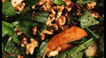 roasted pear and spinach salad