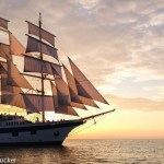 Royal Clipper at Sunset in Slovenia