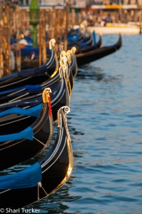 Gondolas along the canals in Venice, Italy