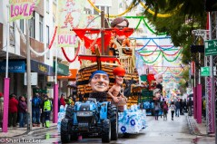 The street lined with floats