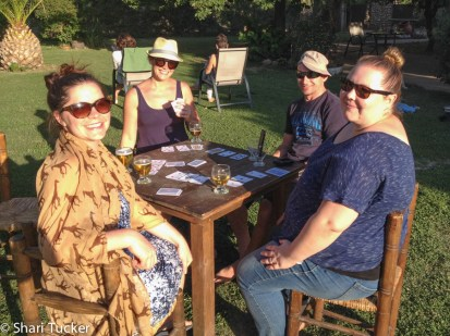 Playing cards with new friends in Argentina during free time at our homestay.