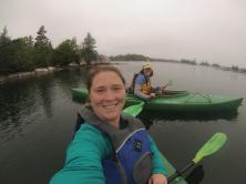 Kayaking in the rain with Candice