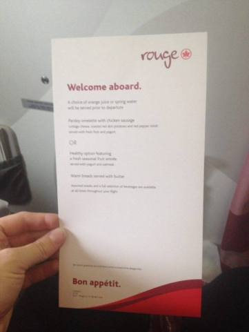 Air Canada Premium Rouge Menu