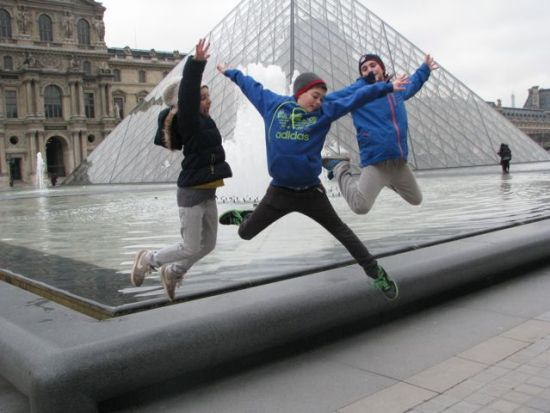 with Eli by the Louvre pyramid