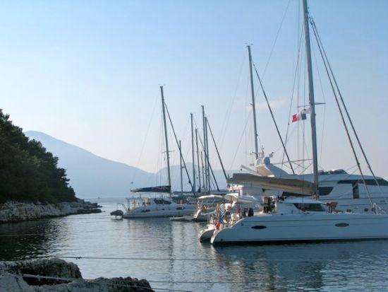 land tied yachts in Fiskardo on Cephalonia