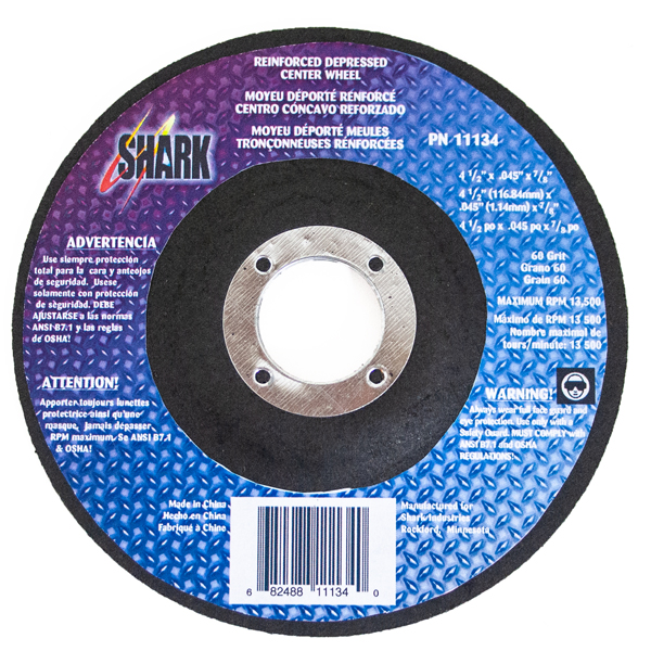 4 1/2″ Reinforced Depressed Center Cut-Off Wheel – 60 Grit, 5pk