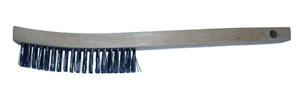 Carbon Scratch Brush – Long Handled 13 1/2″ length. 3 x 19 Rows