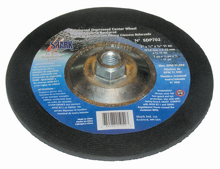 Grinding Wheels Type 27- Zirconia 7″x 1/4″ x 5/8-11 – 24 Grit. 10 pack.