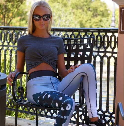 Morgan Cryer modeling the Tranquil Bay Yoga / Surf Leggings by Shark Tooth Surf Co.
