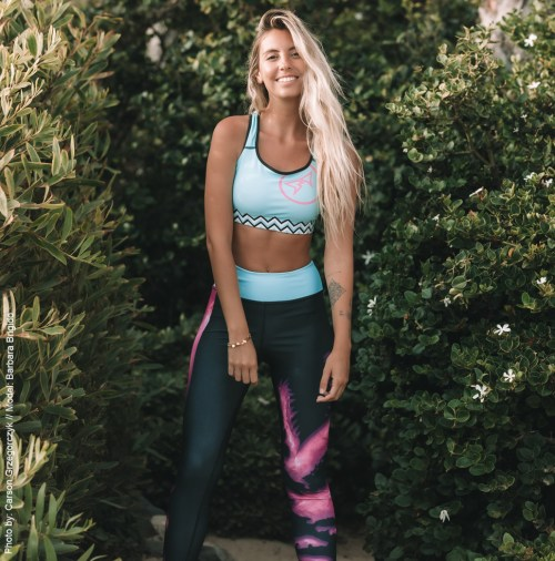 Barbara Brigido modeling the front view of the Toxic Yoga/Surf Leggings by Shark Tooth Surf Co. Photo by: Carson Grzegorczyk