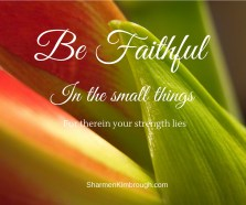Be faithful in the small things, for therein your strength lies.