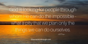 God is looking for people through whom He can do the impossible. Such a pity that we plan only the things we can do ourselves. -A.W. Tozer