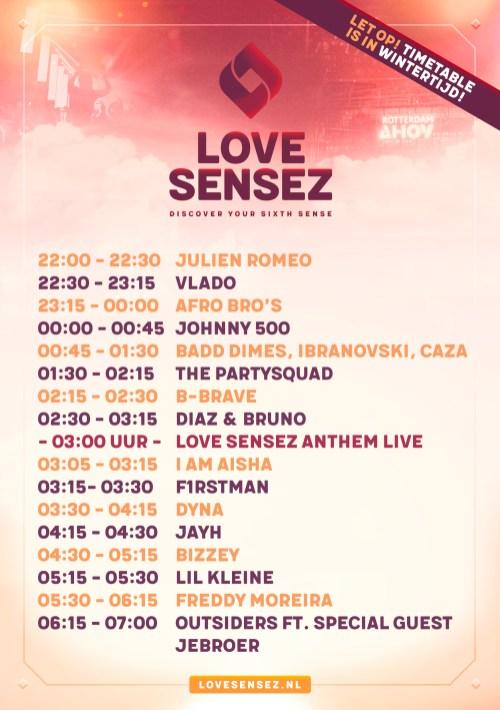 Love Sensez - time-tabel