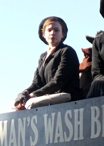 Carey Mulligan on the top of the horse bus