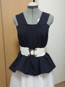 Front View (Reverse): White belt. Check out that peplum effect.