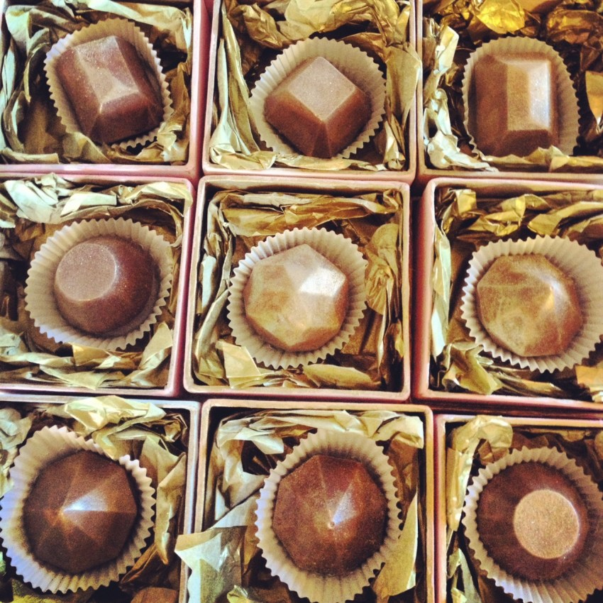 We made 300 of these truffles inside of jewel shaped ice cube molds. I only had one mold that made 6 at a time. That's way it took so long. They are made with crushed hazelnuts, crushed hazelnut wafers and Nutella-YUM