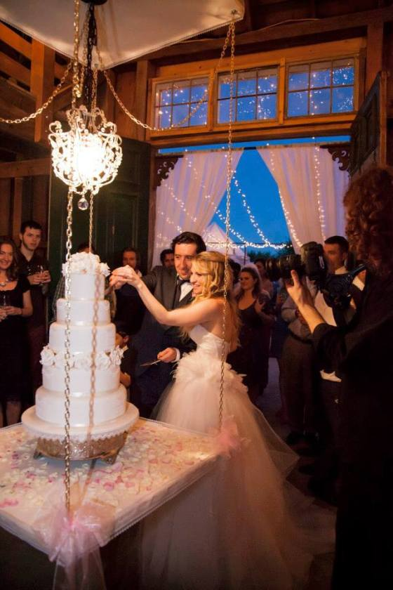 The cake was lowered from the barn ceiling for the unveiling. It was breath taking! Gluten free wedding cake recipe HERE!