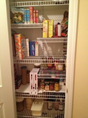 Redesigned coat closet is now our pantry.