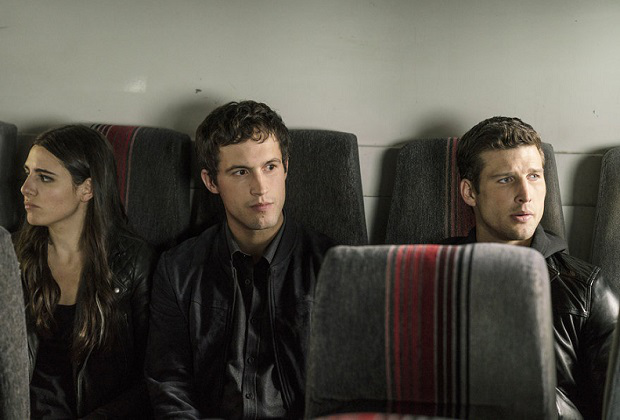 """IMPOSTERS -- """"Always Forward, Never Back"""" Episode 110 -- Pictured: (l-r) Marianne Rendon as Jules, Rob Heaps as Ezra, Parker Young as Richard -- (Photo by: Ed Araquel/Bravo)"""