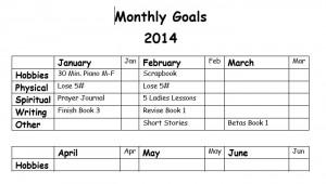 My Goal sheet
