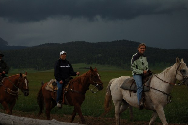 Yes, that is a Montana thunderstorm at our backs. Whoa, horsey!