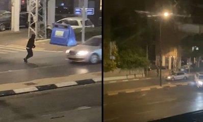 תקיפת עובד ערבי ברחוב בן גוריון בהרצליה, רכב נוסע בנתיב בנגדי ורכב חוצה אי תנועה
