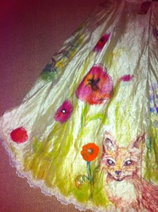 A glimpse of my silk skirt I handpainted