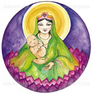 Kuan Yin, the Goddess of Mercy and Compassion, is a manifestation of the Divine Mother and serves mankind in much the same way as Mother Mary.