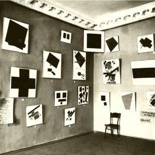 A section of Suprematist works by Malevich at the 0.10 Exhibition, Petrograd, 1915