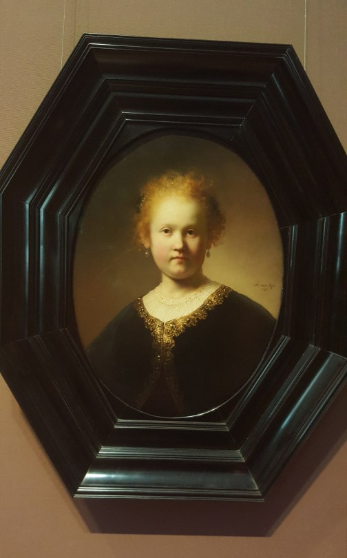 """Rembrandt's """"Girl Wearing a Gold Trimmed Cloak,"""" 1632. Maybe the most impressive Rembrandt I've ever seen up close. She glowed."""