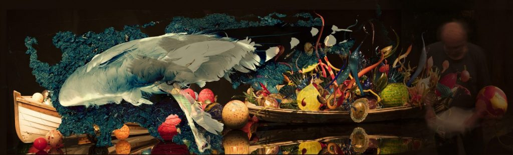 funeral for the death of a jay with boat and chihuly glass