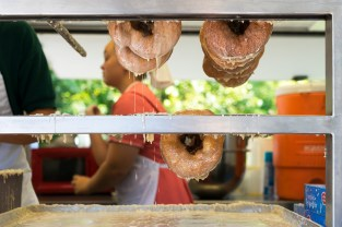 Yoder's Donuts, dripping with hot glaze.