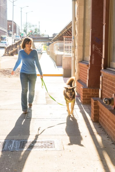 An urban shoot with woman and dog